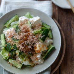 豆腐とささ身の梅ドレサラダ